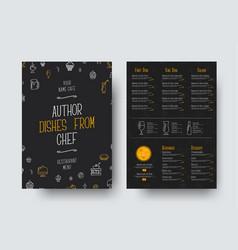 design a4 size of a black menu for a restaurant vector image vector image