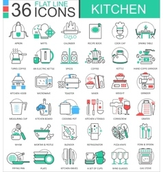 Kitchen color flat line outline icons for vector image vector image