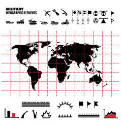 military infographics elements with world map and vector image vector image