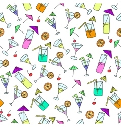 Seamless pattern of hand drawn cocktails vector image vector image