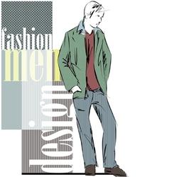 Sketch fashion handsome man vector image