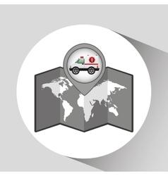 ambulance car icon map pointer vector image