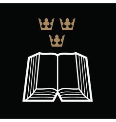 Bible with crowns vector image