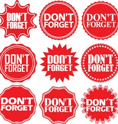 Dont forget red label dont forget red sign dont vector