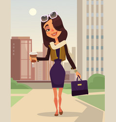 happy smiling business woman mascot character vector image vector image