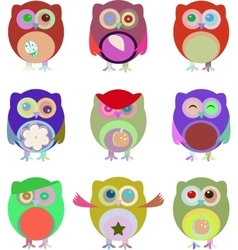Set of nine cartoon owls with various vector image vector image