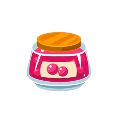 Cranberry jam in transparent jar vector