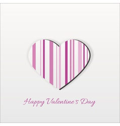 Modern Pink Striped Valentine Heart vector image vector image