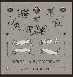 Set of vintage hipster ribbon arrow alphabet vector image vector image