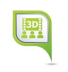 3d cinema icon on green map pointer vector image vector image