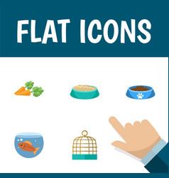 Flat icon pets set of bird prison fishbowl vector
