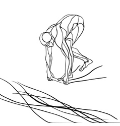 Swimmer at starting block silhouette vector
