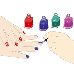 The choice of the enamel in a beauty salon vector image