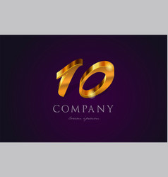 10 ten gold golden number numeral digit logo icon vector