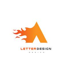 A letter flame logo design fire logo lettering vector