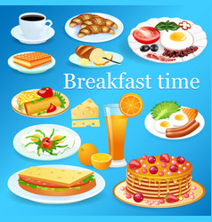 a set breakfast dishes with coffee and orange vector image