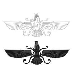 Ancient sumerian symbol faravahar vector