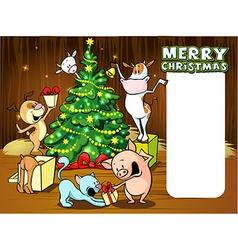 Animals celebrate Christmas - xmas card vector