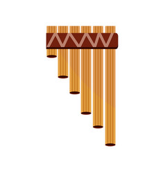 Bamboo flute wind musical instrument isolated icon vector