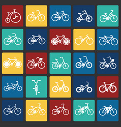 Bicycle icons set on color squares background for vector