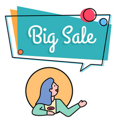 Big sale promotional banner with shopper vector