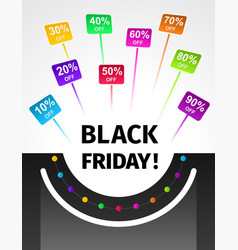 black friday banner in the form of a symbolic bag vector image