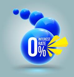 blue circles zero percent banner vector image