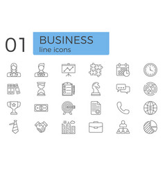 business related line icons set vector image