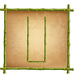 capital letter u made of green bamboo sticks on vector image