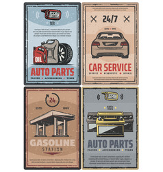 Car service and fuel station retro posters vector