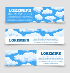 cartoon clouds horizontal banners template vector image