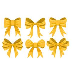 cartoon gold bow set vector image