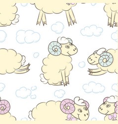 cartoon sheep in the sky with clouds vector image