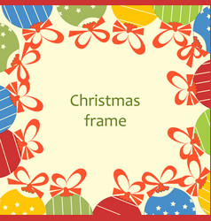 Christmas ornaments and ribbons frame space for vector