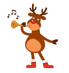 Christmas polar deer with red nose plays pipe vector