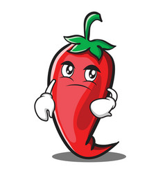 Confused red chili character cartoon vector