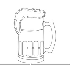 continuous one line drawing beer pint vector image