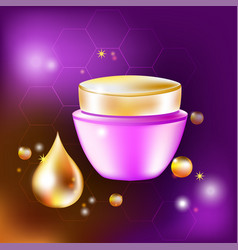 Cream jar with a drop and glares for vector