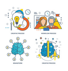 Creative process workflow process brainstorm vector