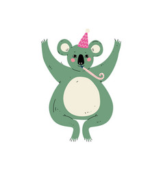 cute coala bear wearing party hat with whistle vector image