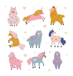 cute llamas and unicorns set adorable animals vector image