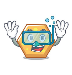 diving hexagon character cartoon style vector image