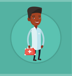 doctor holding first aid box vector image