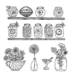 doodle wooden shelves with a pot of jam vector image