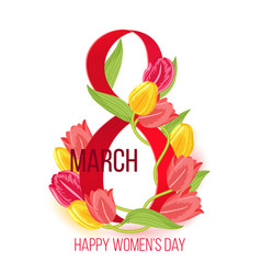 Eight march happy womens day card design vector
