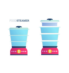 Empty domestic food steamers flat set vector