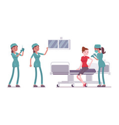 female nurse at medical procedure vector image