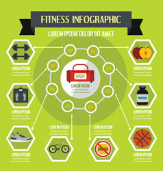Fitness infographic concept flat style vector