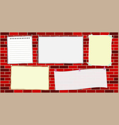 five paper notes template on the brick wall vector image