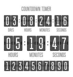 flip countdown clock counter timer on white vector image